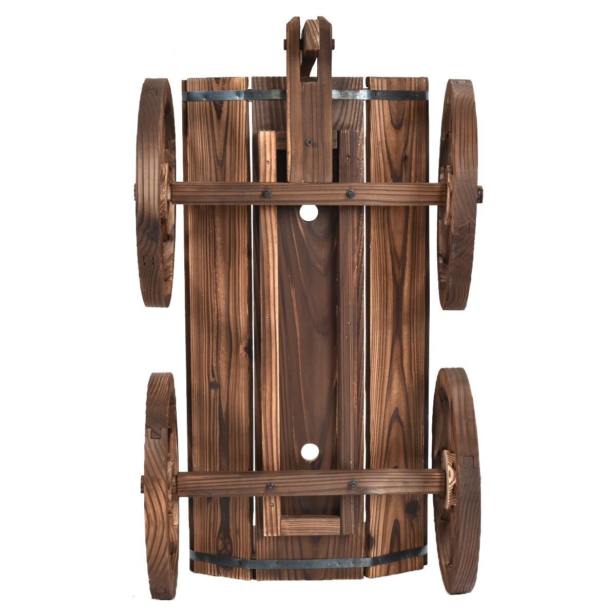 Shop Costway Wood Wagon Flower Planter Pot Stand W/Wheels Home ...