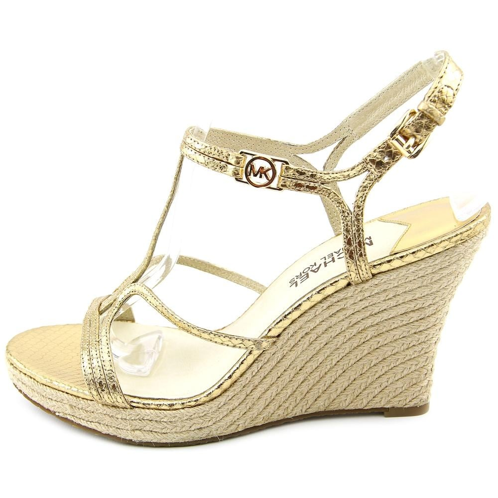 7f5c7d2770c2 Shop Michael Michael Kors Cicely Wedge Pale Gold Sandals - Free Shipping On  Orders Over  45 - Overstock - 19482804