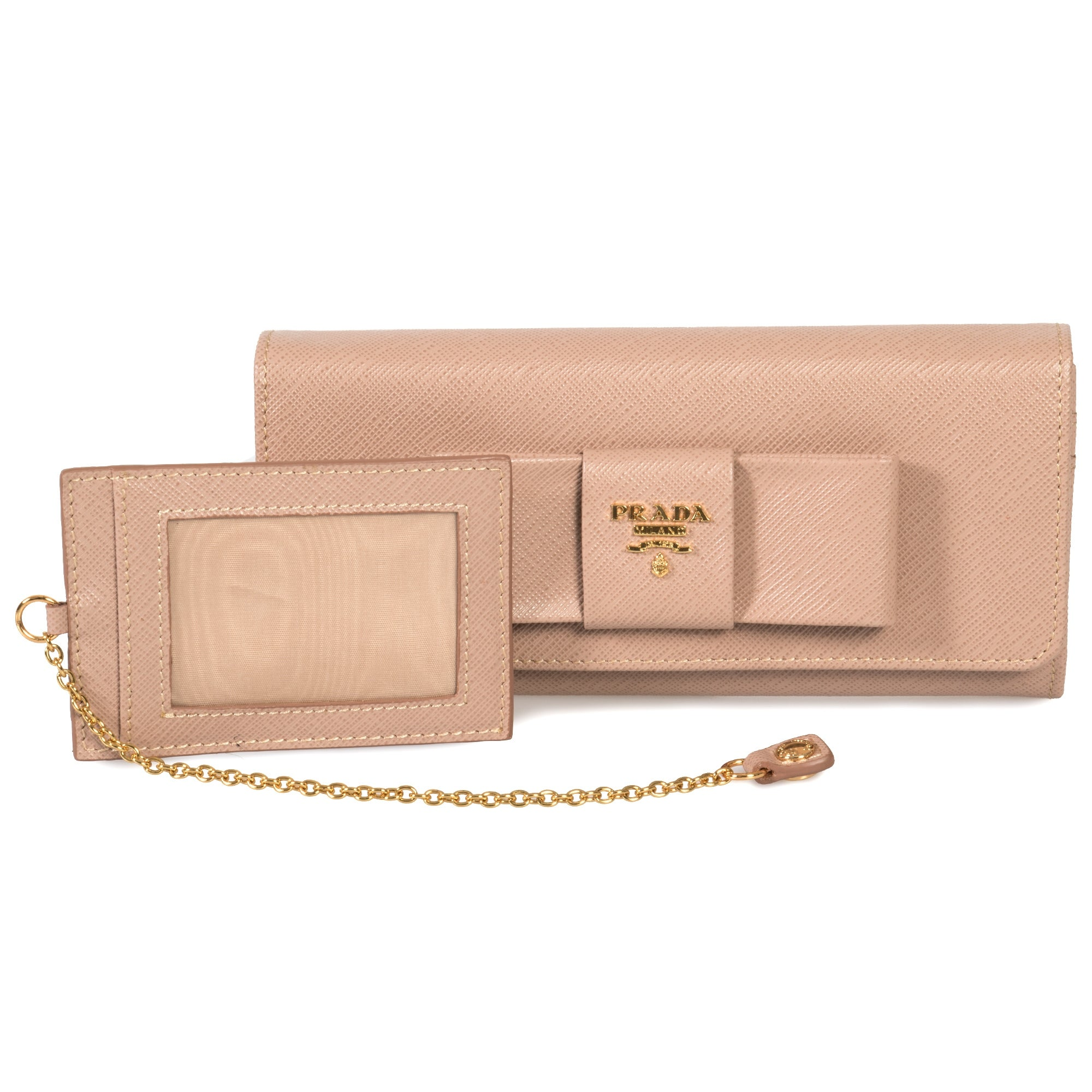 2edc74f68690 Prada Cameo Saffiano Leather Flap Wallet With Bow Detail 1MH132 ZTM F0770