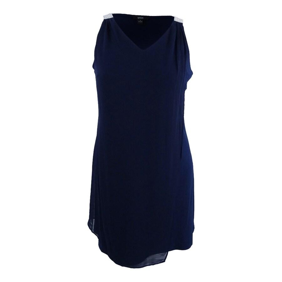 c3c7a9fbb1e8e Shop Msk Women's Sleeveless Rhinestone Chiffon Overlay Dress - Navy - On  Sale - Free Shipping On Orders Over $45 - Overstock - 22358871