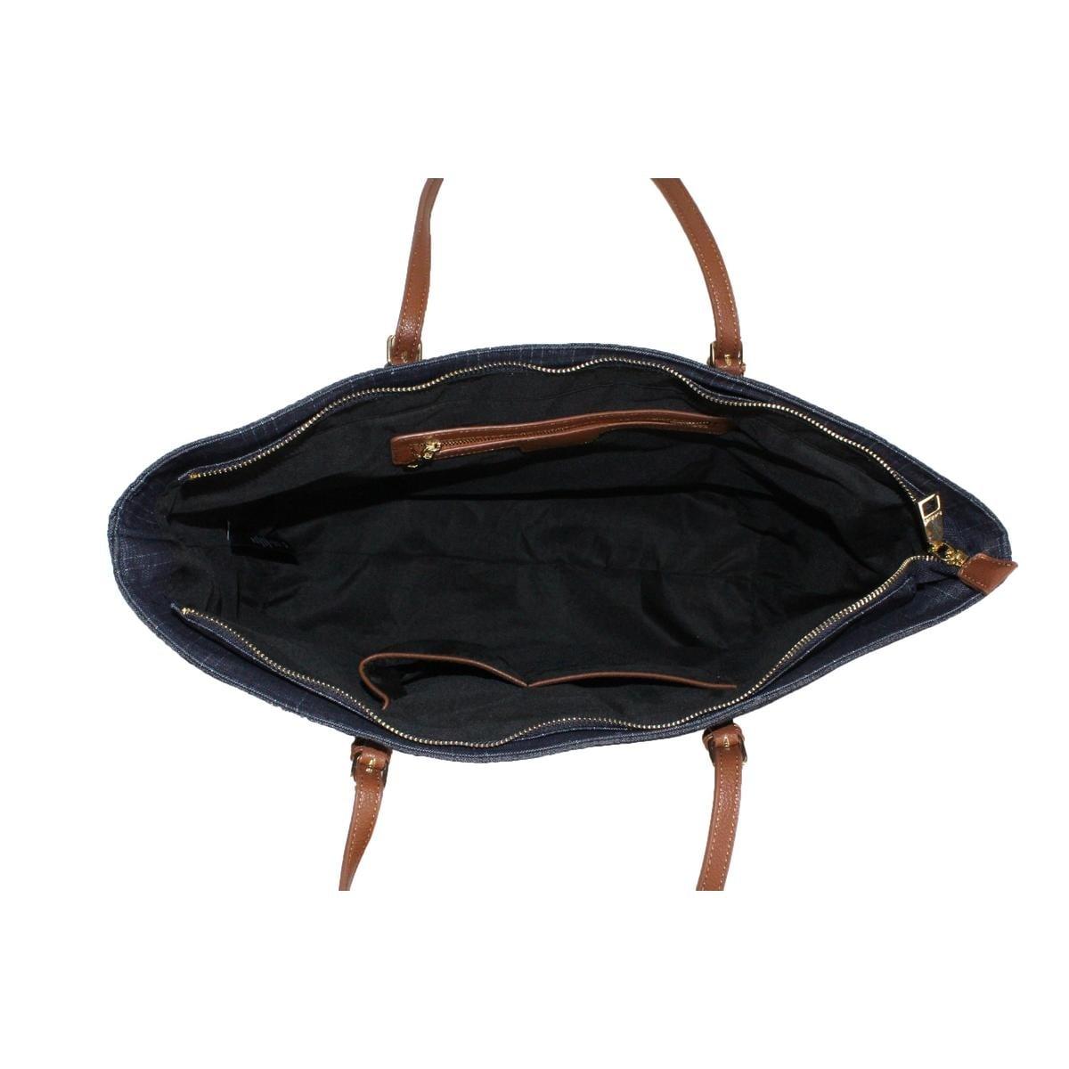 75b170fb22c4 Bebe Womens Debbie Tote Handbag Faux Leather Trim Shopper - Large