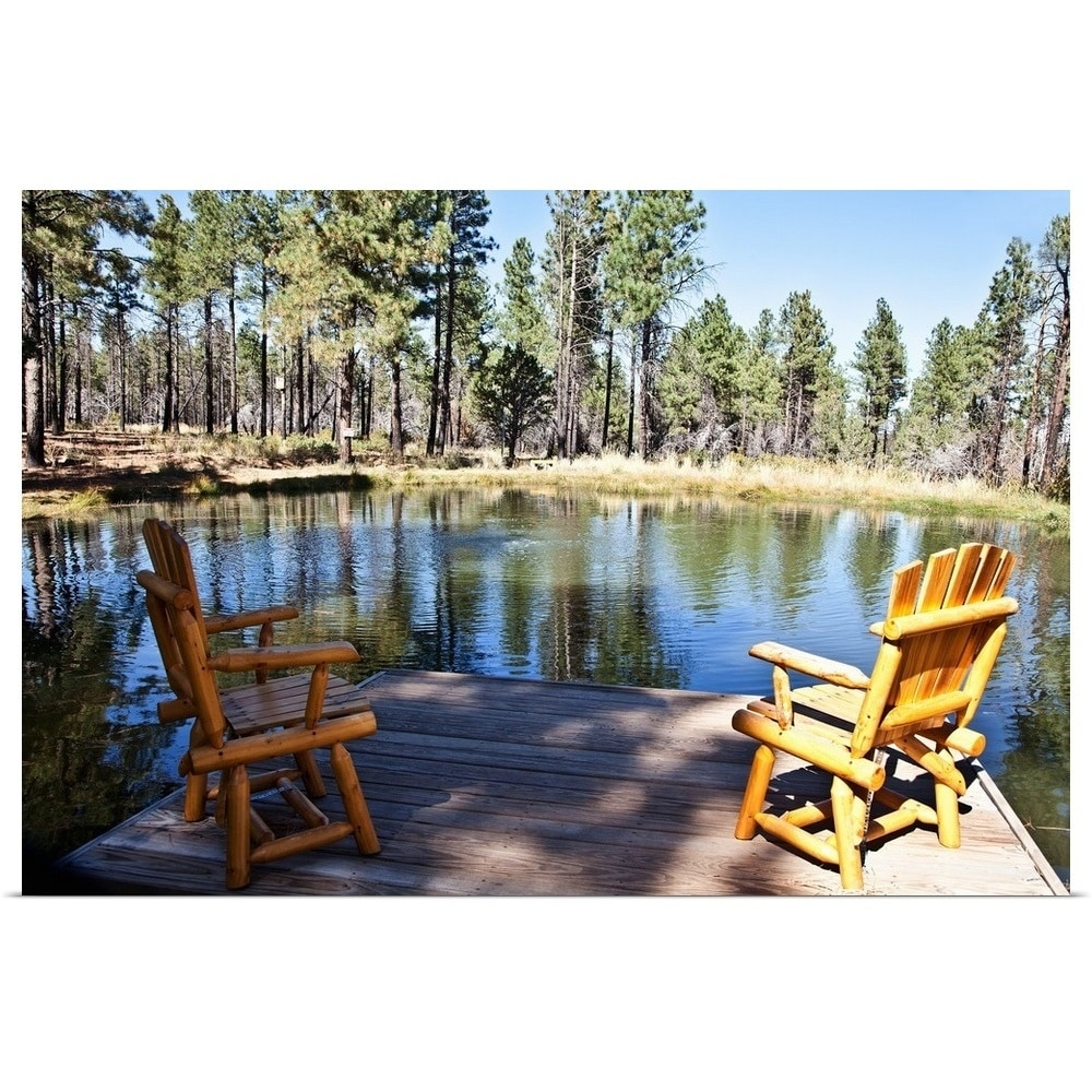 Log Chairs On Deck Overlooking Pond   Multi Color