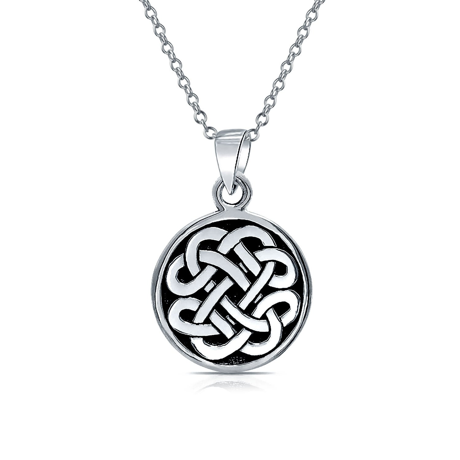 99d6d36989579 Celtic Knot Irish Friendship Round Circle Medallion Shield Pendant Sterling  Silver Necklace For Women Men 18 In Chain