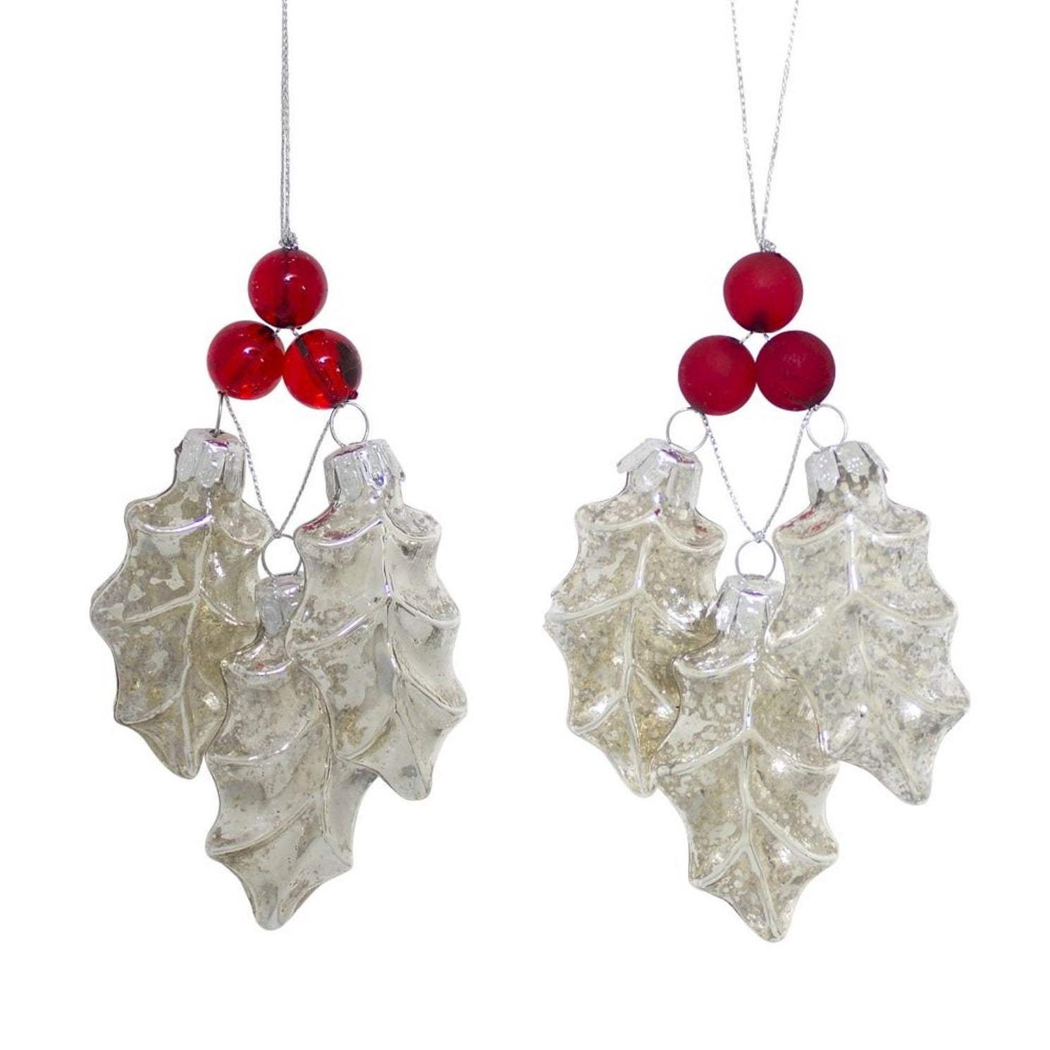 Club Pack Of 12 Red And Clear Holly Leaves With