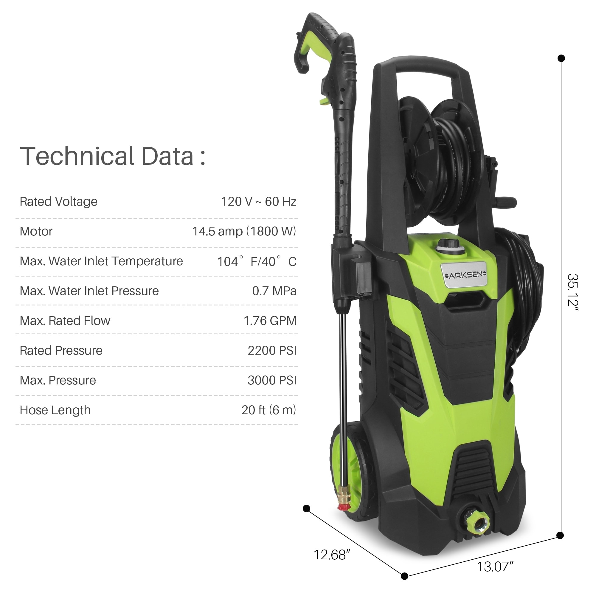 85e6985041549 Arksen 3000 PSI 1.7 GPM 14.5 AMP Electric Pressure Washer with (5) Nozzle  Adapter with Hose Reel, Green