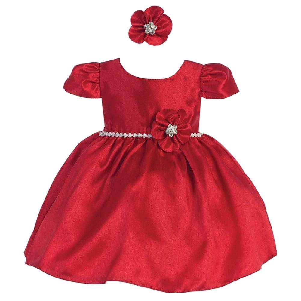 c34fe158b7c Shop Baby Girls Red Poly Shantung Glitter Waist Headband Flower Girl Dress  6M - Free Shipping On Orders Over  45 - Overstock.com - 18171135