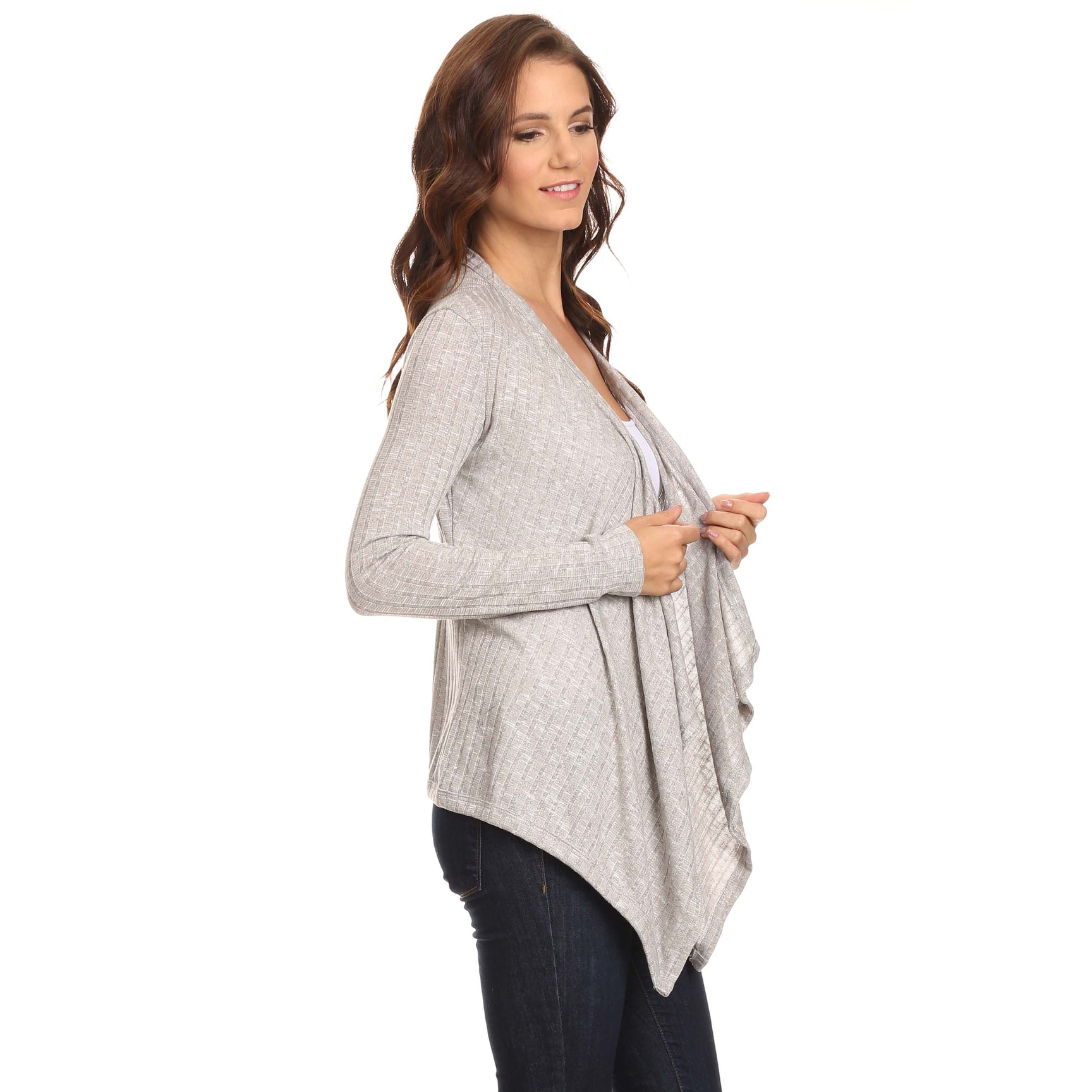 sleeve long cardigan drapes zkess us front open brown draped knit