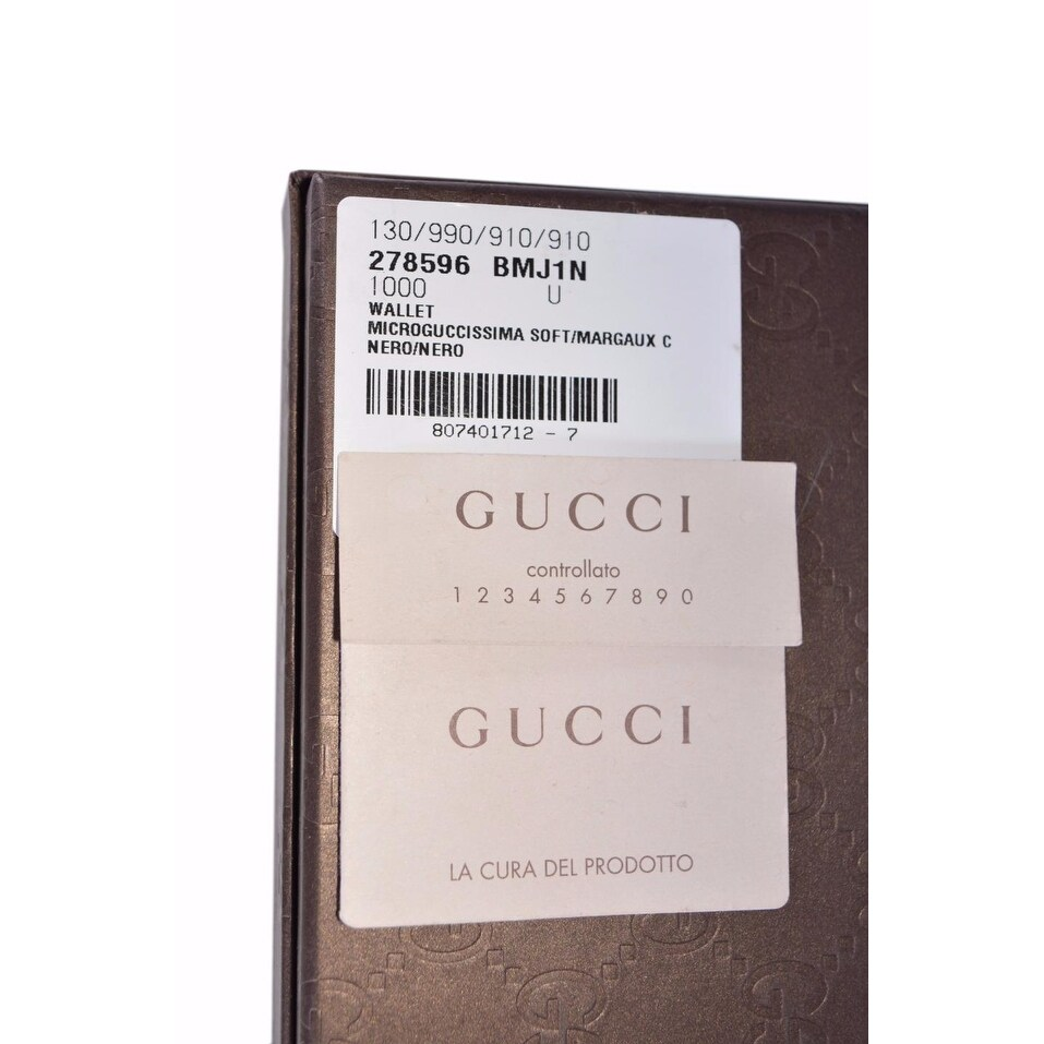 463891a646ed Shop Gucci Men's 278596 Black Micro GG Guccissima Large Bifold Wallet - 5