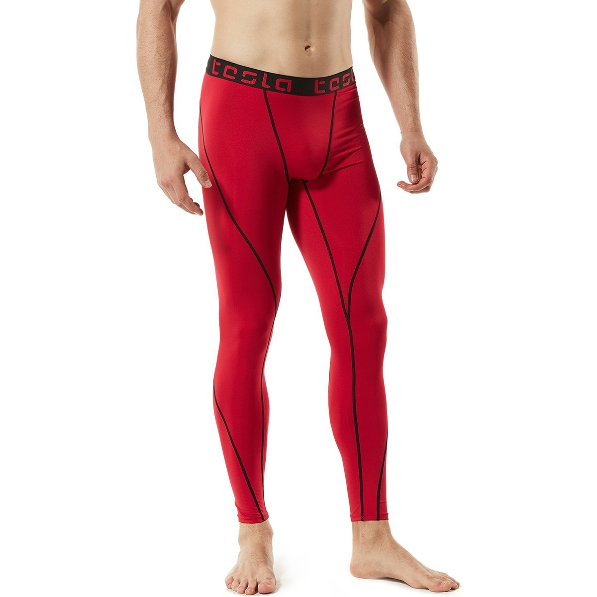 51b445d992a19 Shop TSLA Tesla MUP19 Cool Dry Baselayer Compression Pants - Red/Black -  Free Shipping On Orders Over $45 - Overstock - 27337325