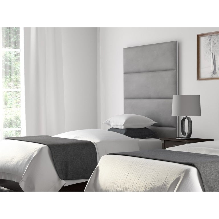 upholstered wall panels master bedroom shop vant upholstered wall panels headboards sets of micro suede gray 39 inch twinking free shipping today overstockcom 12246091