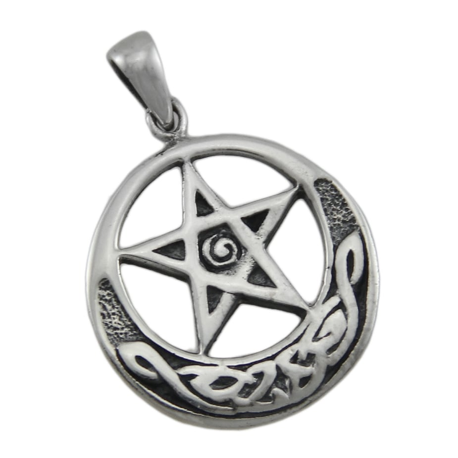 pentagram product hecate pendant moon amulet tree of triple awakening rising life