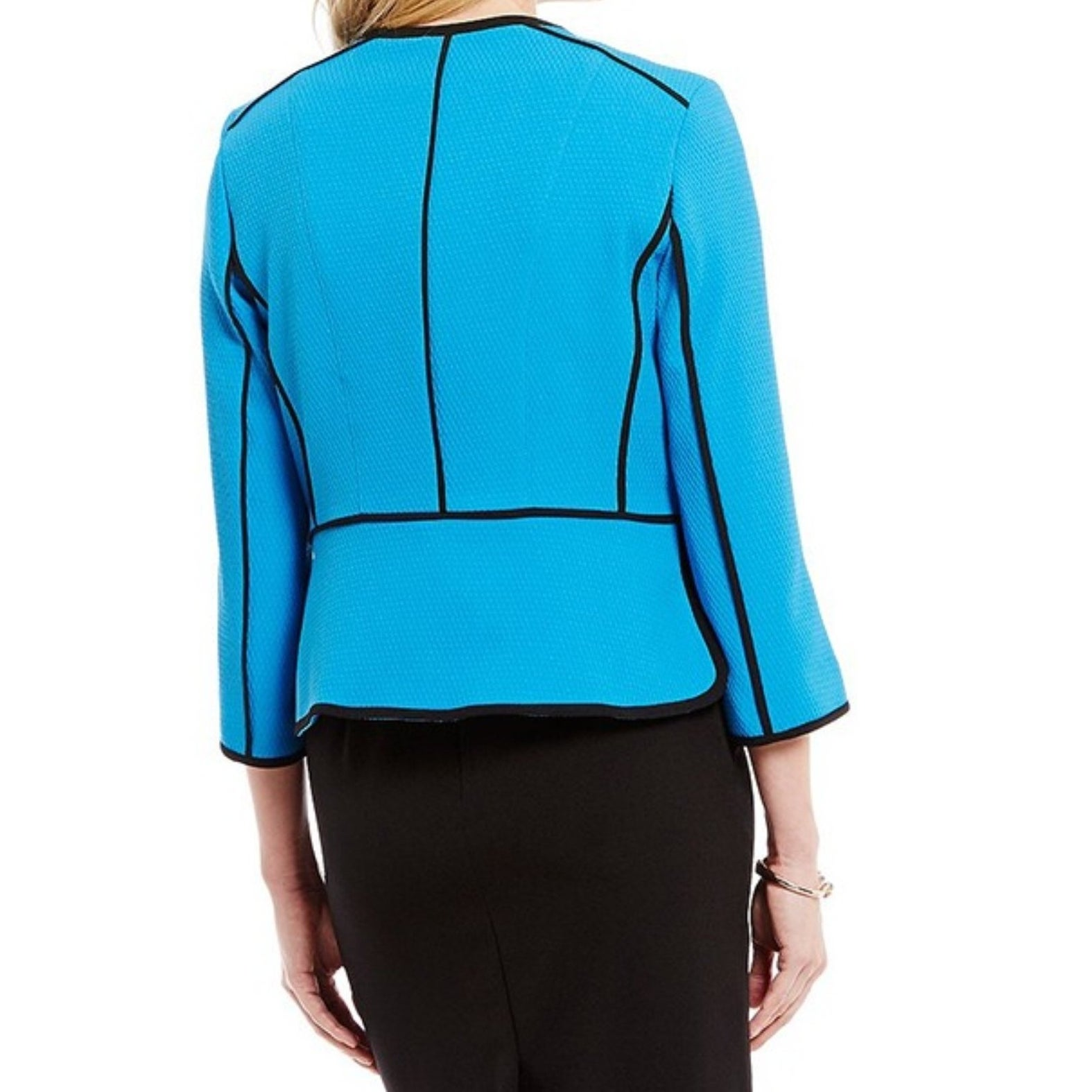821a71cc Shop Kasper NEW Azure Blue Black Piped Women's Size 8 Zip Front Jacket -  Free Shipping Today - Overstock - 20719414