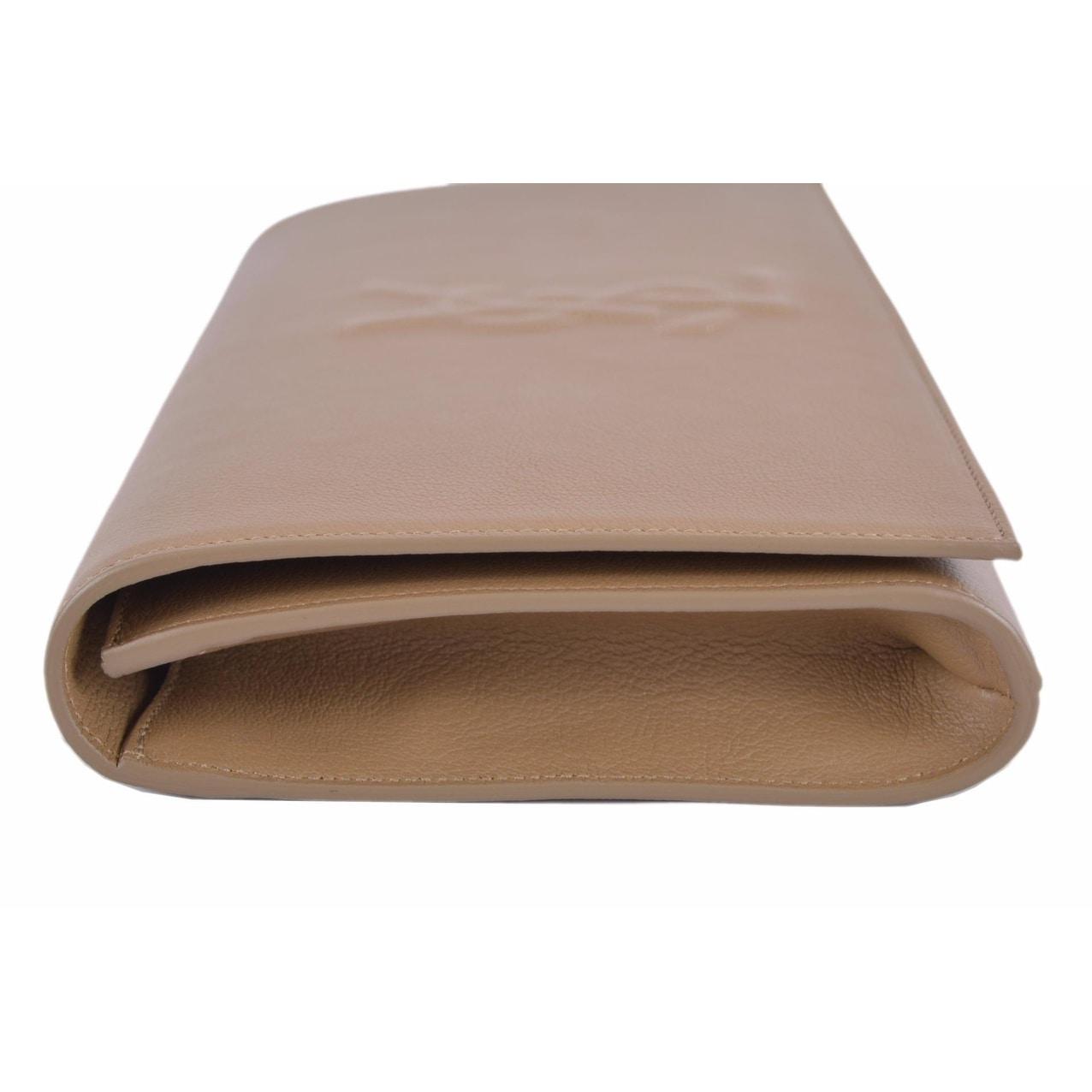 4a711b89980 Shop Saint Laurent YSL 361120 Beige Leather Large Belle de Jour Clutch  Handbag - On Sale - Ships To Canada - Overstock - 12057528