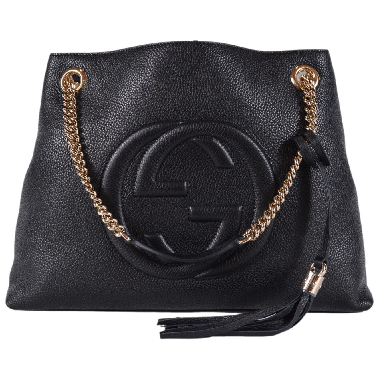 58380afc182 Shop Gucci Women s 536196 Black Leather SOHO Chain Strap Purse Handbag Tote  - Free Shipping Today - Overstock - 25576109