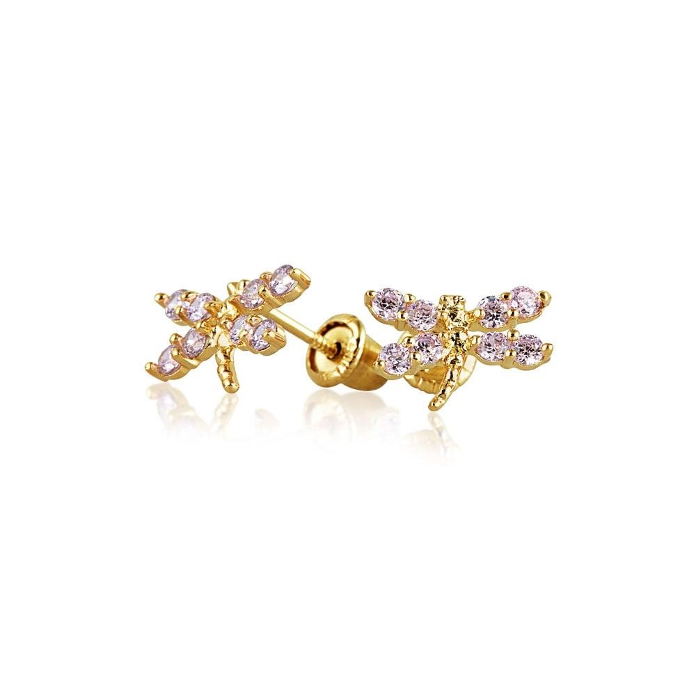 Butterfly Butterfly with Cubic Zirconia 14k Yellow Gold Screw Back Earrings