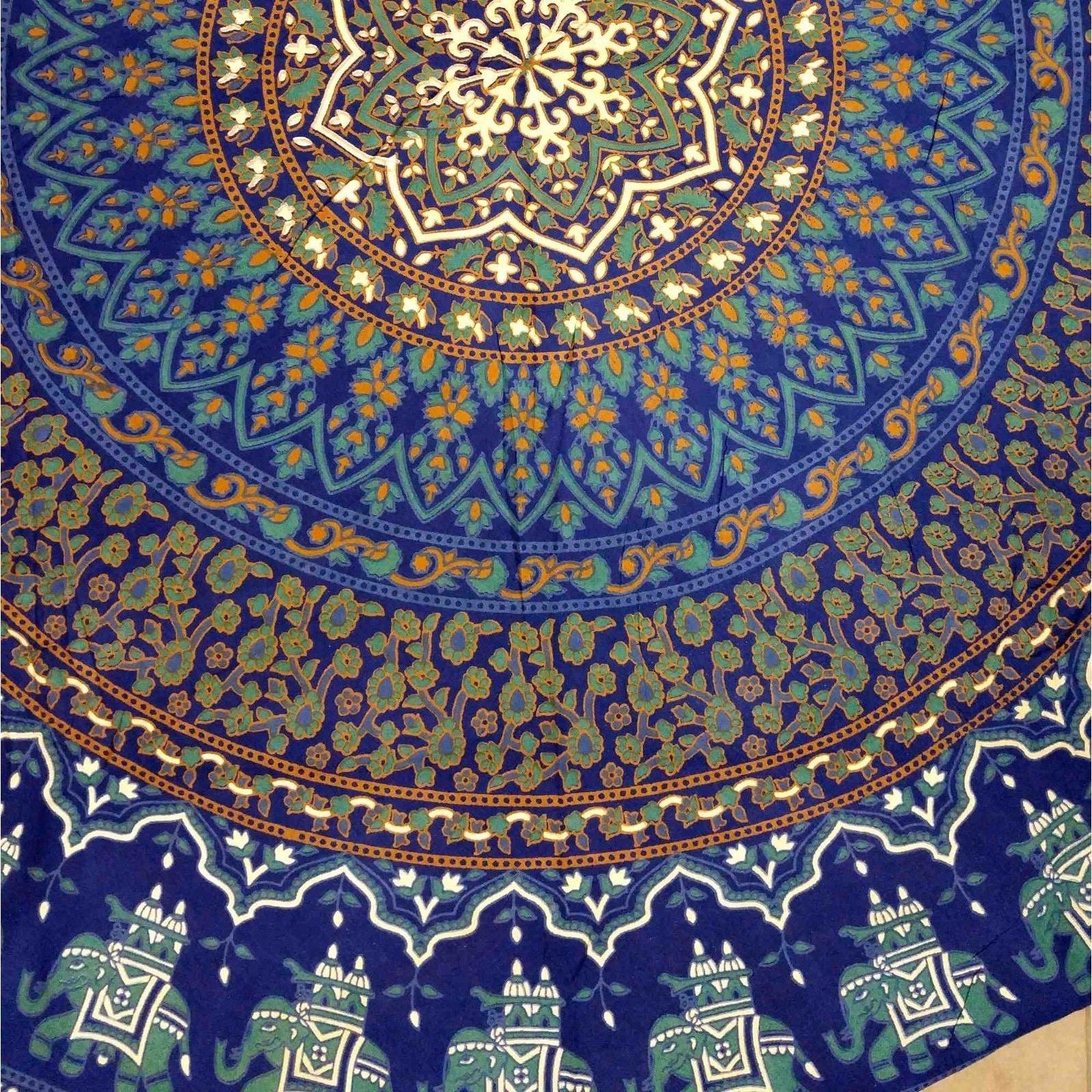 Shop Cotton Elephant Mandala Floral Print Tablecloth Round 81 inches ...