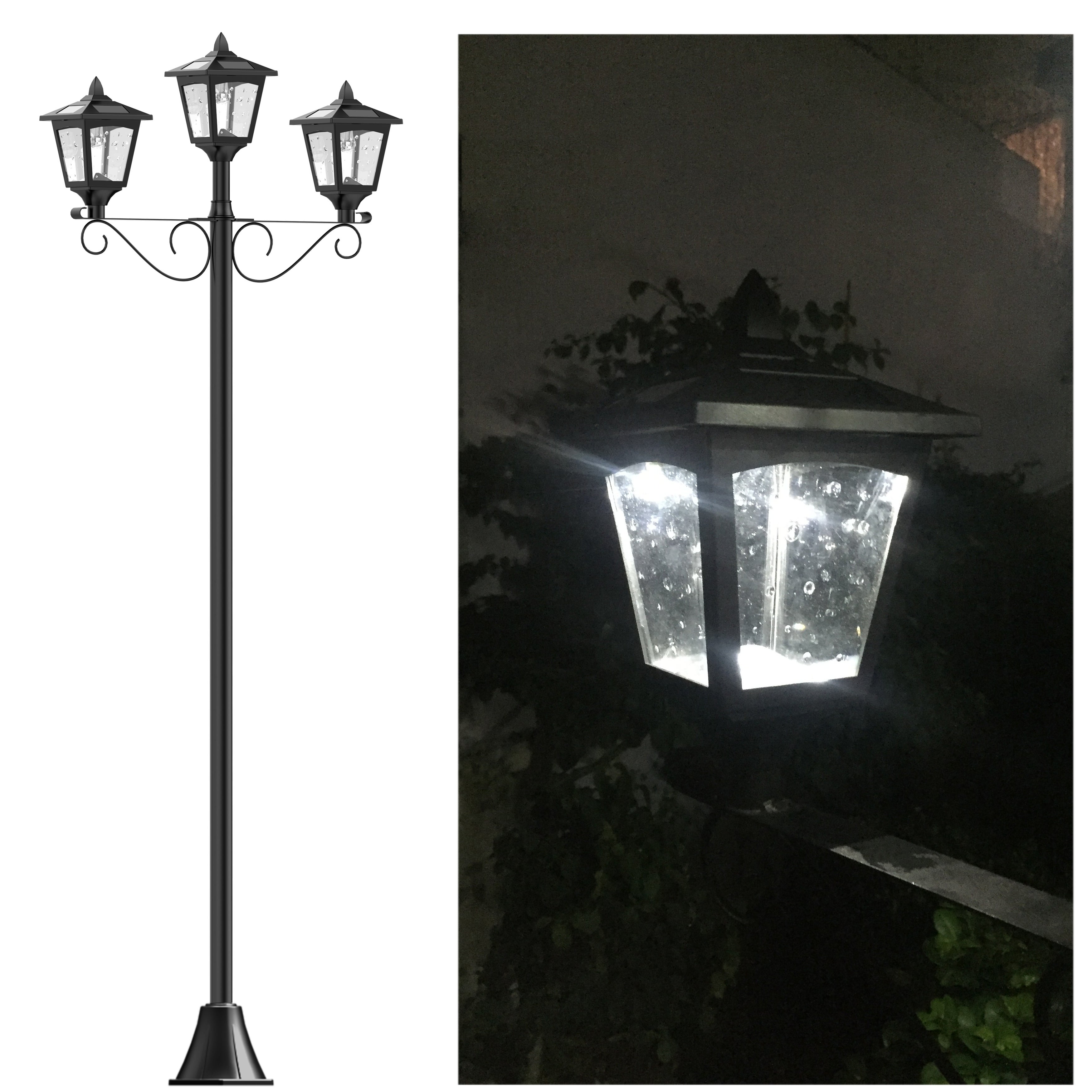 Kanstar upgrade 72 triple head street vintage outdoor garden solar kanstar upgrade 72 triple head street vintage outdoor garden solar lamp post light lawn black free shipping today overstock 25685886 aloadofball Image collections
