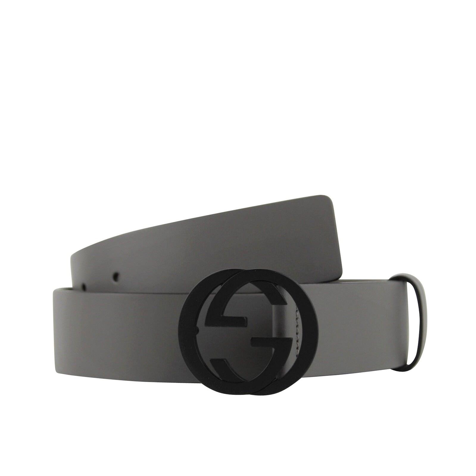 99f2c7912 Gucci Men's Interlocking G Grey Leather Belt with Black Buckle 368186 1226