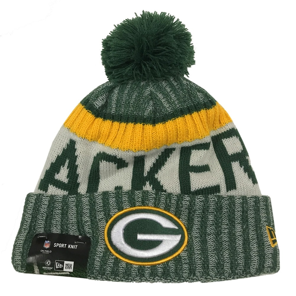 new styles 38cc8 8c191 Shop New Era Green Bay Packers Knit Beanie Cap Hat NFL On Field Sideline  11460398 - Free Shipping On Orders Over  45 - Overstock - 17743880