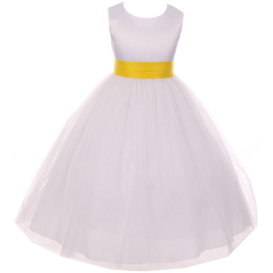 Satin Big Bow Communion Wedding Flower Girl Dress Yellow Kd 411 Wt