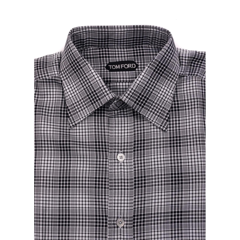 Shop Tom Ford Mens Pure Cotton White Houndstooth Plaid Dress Shirt