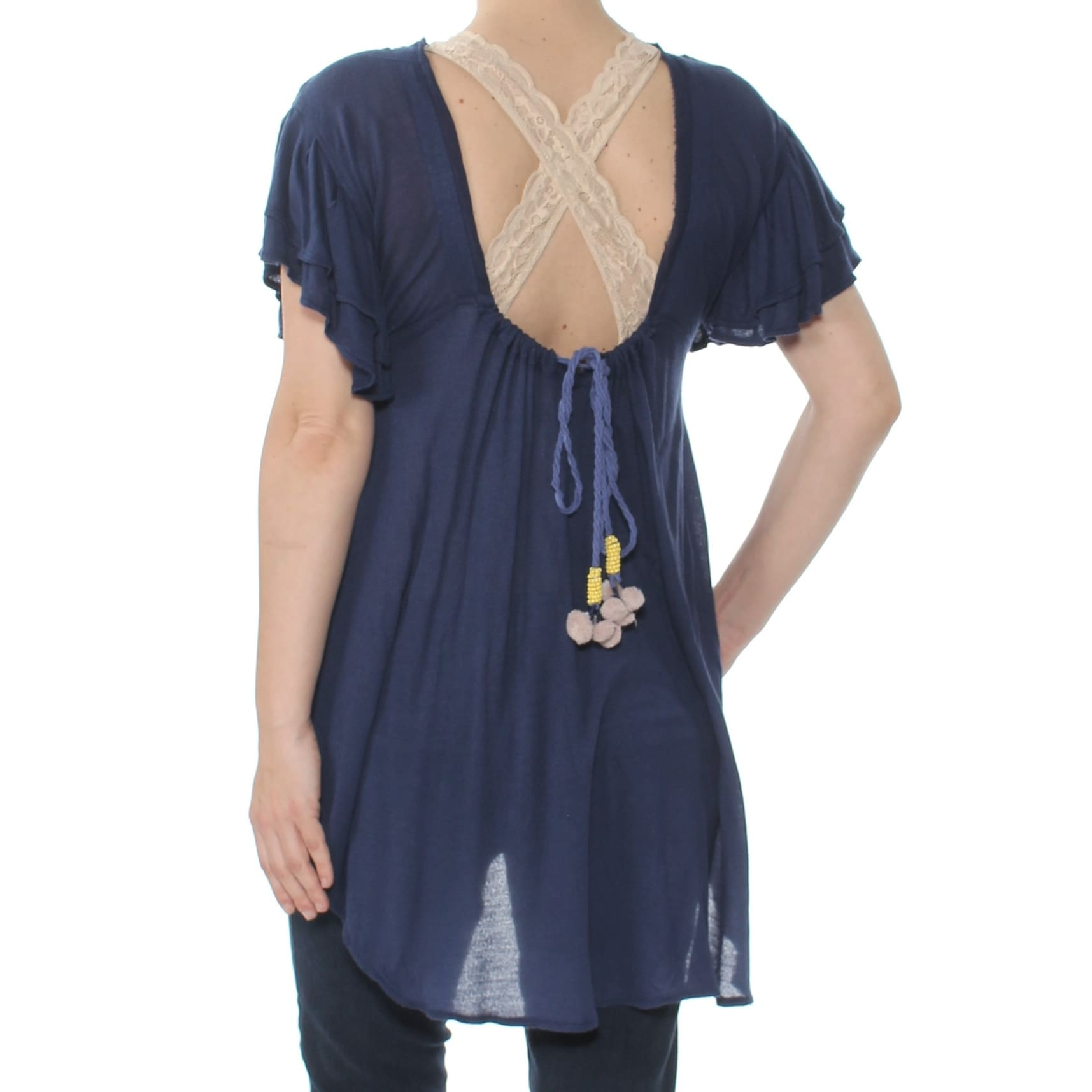 41fbf08ee56 Shop FREE PEOPLE Womens Navy Embroidered Short Sleeve V Neck Tunic Top  Size: XS - Free Shipping On Orders Over $45 - Overstock - 27795154