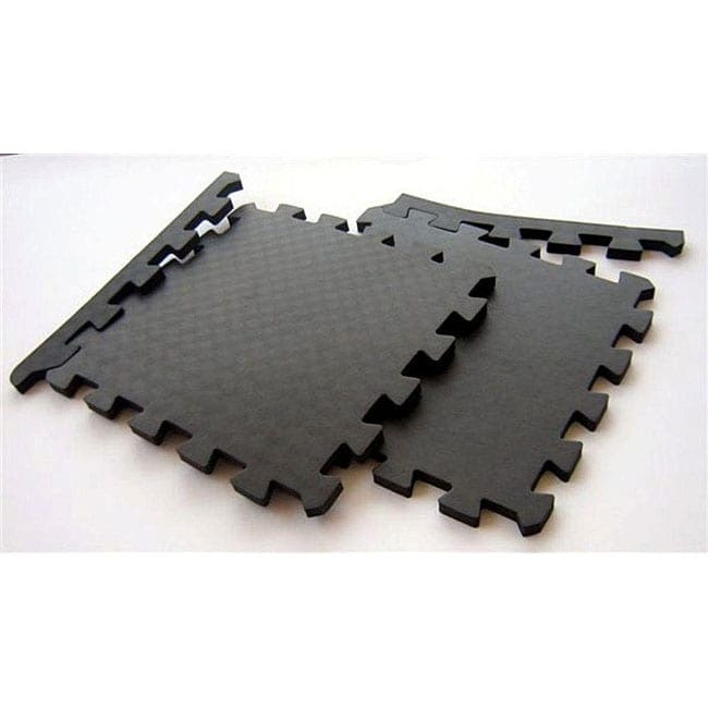 Tnt Foam Black Waterproof Interlocking Gym Floor Mats 96 Square Feet