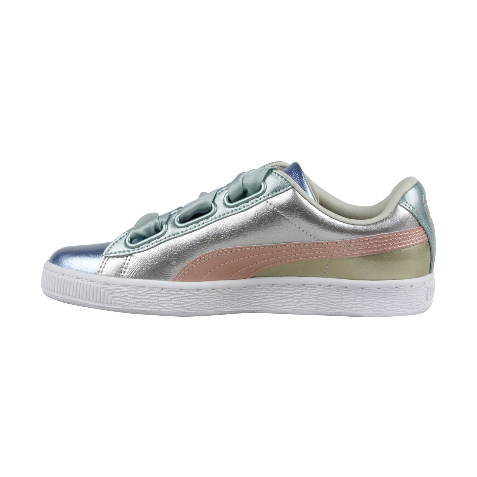 new products 877a1 ee012 Puma Basket Heart Bauble Fm Womens Silver Leather Sneakers Shoes
