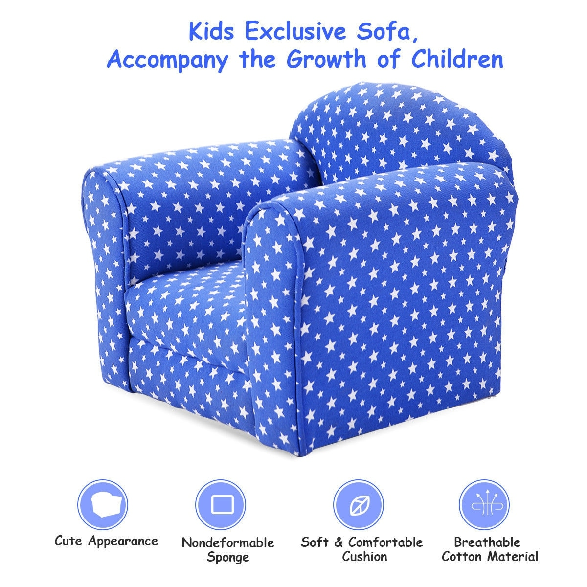 Costway Blue W Stars Kid Sofa Armrest Chair Couch Children Living Room Toddler Furniture On Free Shipping Today 16120465
