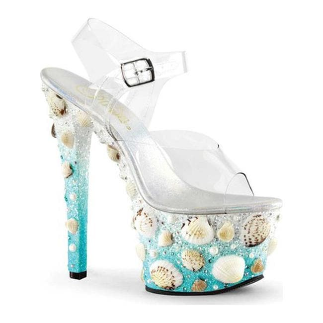 a0408c15a1d910 Shop Pleaser Women s Sky 308MERMD Ankle-Strap Sandal Clear PVC Light Blue  Glitter - Free Shipping Today - Overstock - 13487262