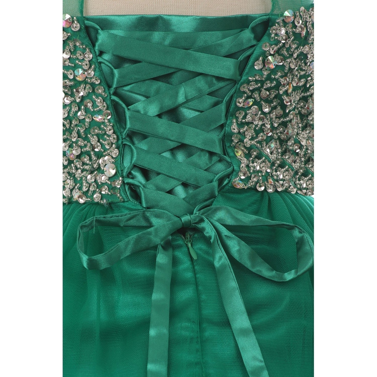 5c83e71c97 Shop Big Girls Emerald Green Glitter Bead Wired Hem Tulle Christmas Dress -  Free Shipping Today - Overstock - 24122574