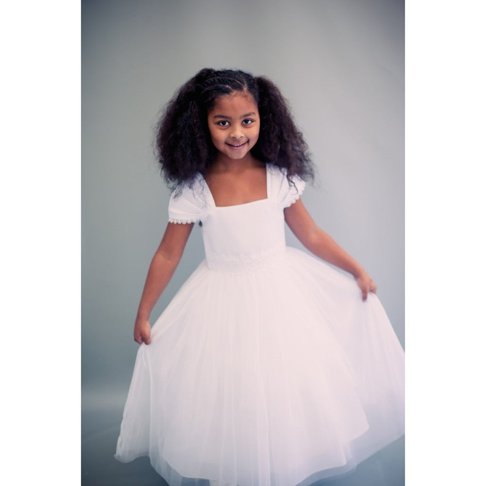 587e0b3ef Shop Kids Dream Little Girls Ivory Satin Mesh Beadwork Flower Girl Dress -  Free Shipping Today - Overstock - 18162236