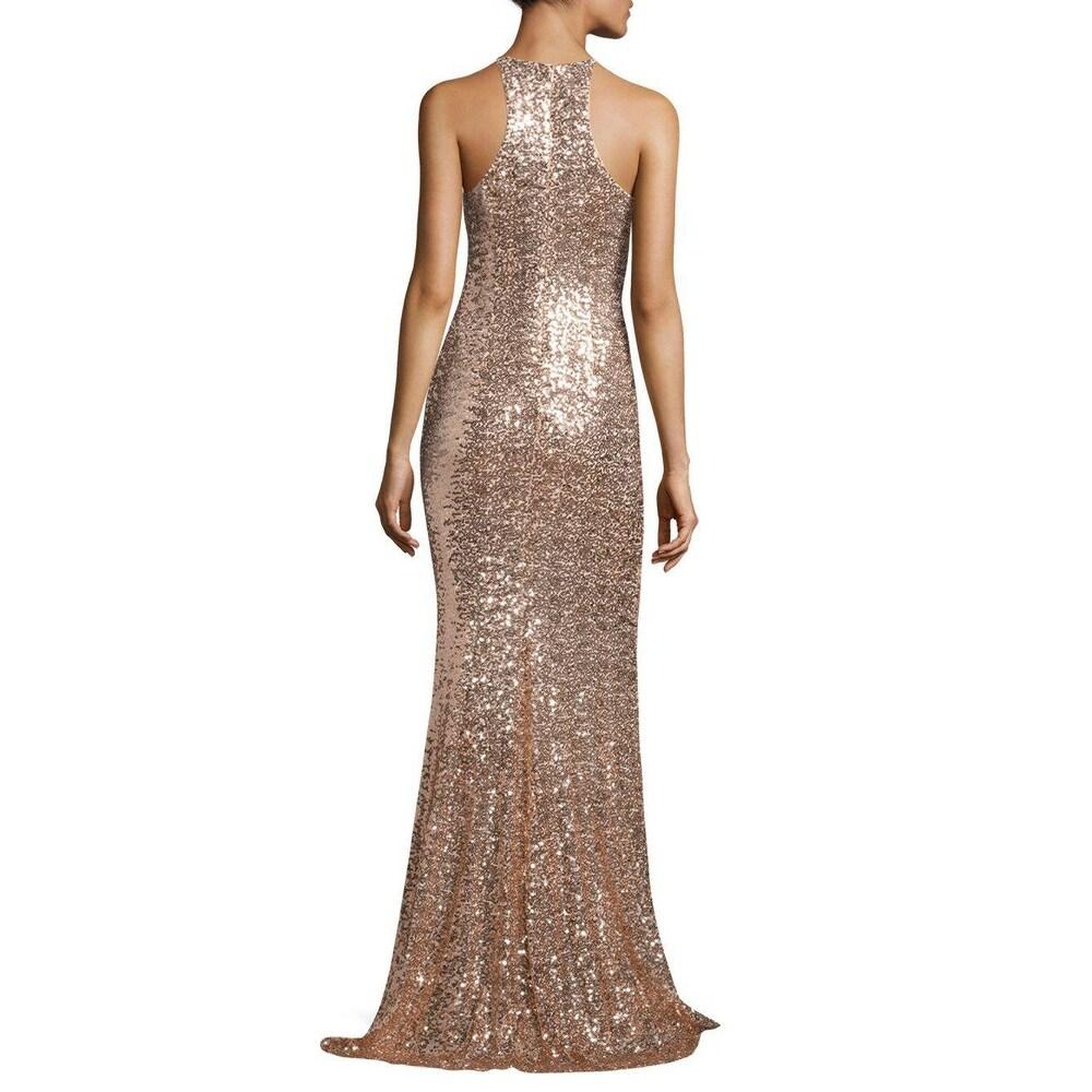Shop Badgley Mischka Sequined Racerback Evening Gown Dress Blush - 0 ...