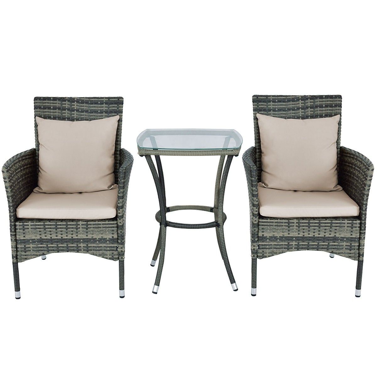 Costway 3PCS Patio Rattan Furniture Set Chairs & Table Garden Coffee ...