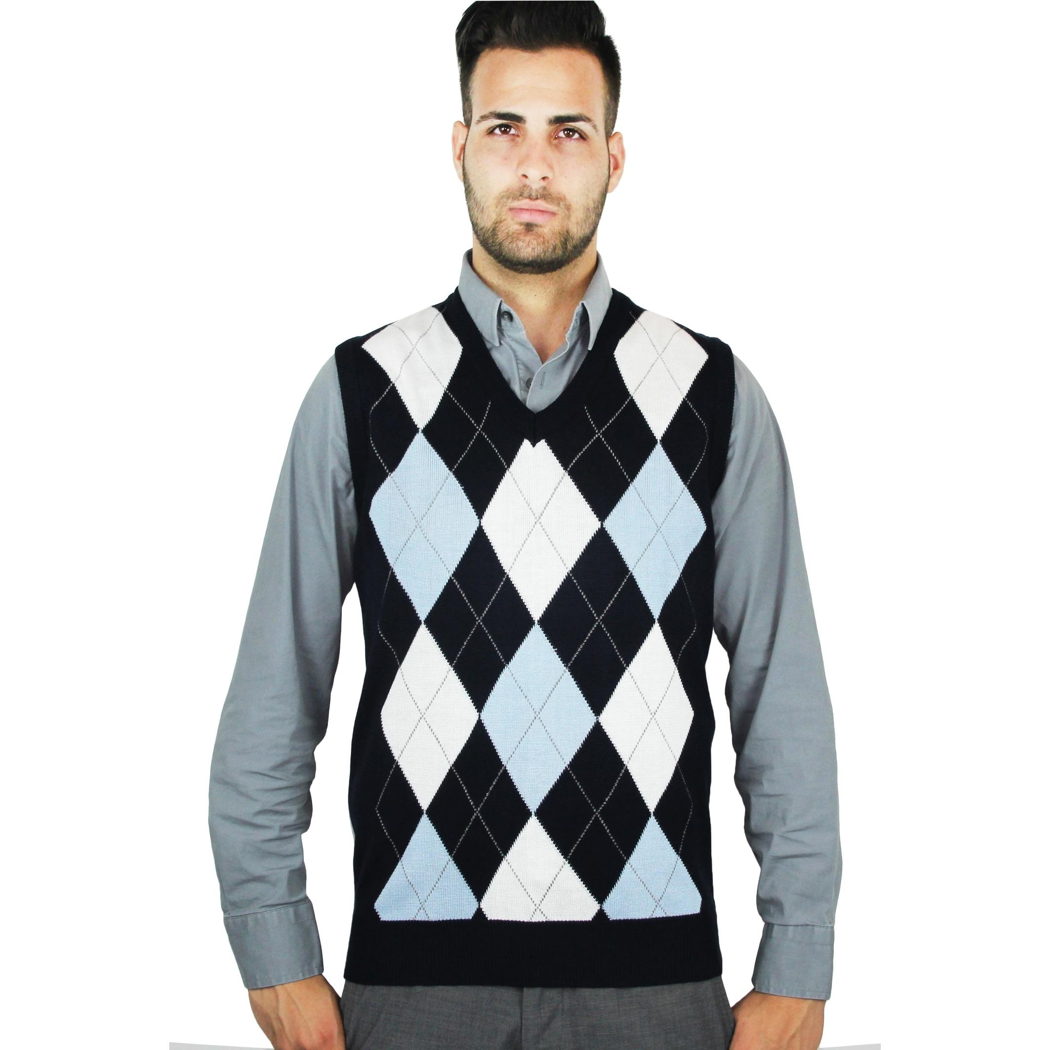 Men's Argyle Sweater Vest (SV-255) - Overstock - 23500821