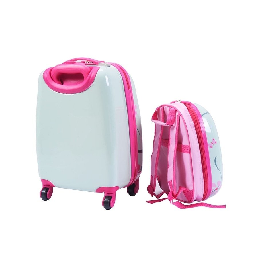 Shop Costway 2Pc 12 16 Kids Luggage Set Suitcase Backpack School Travel Trolley ABS