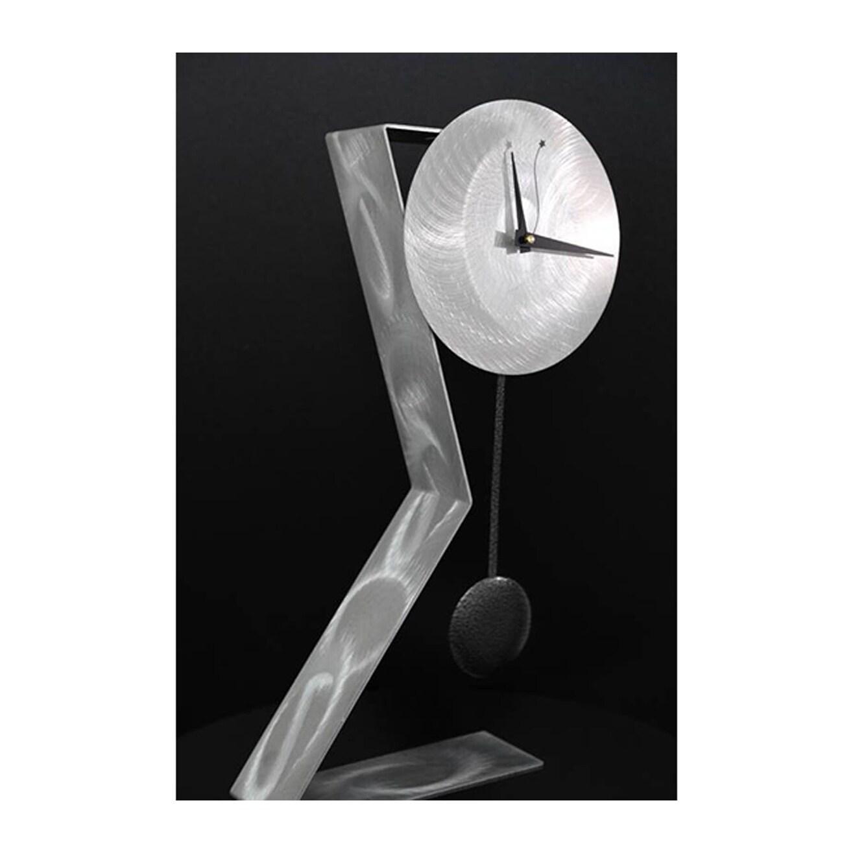 Statements2000 Silver Black 23 Inch Metal Desk Clock With Pendulum