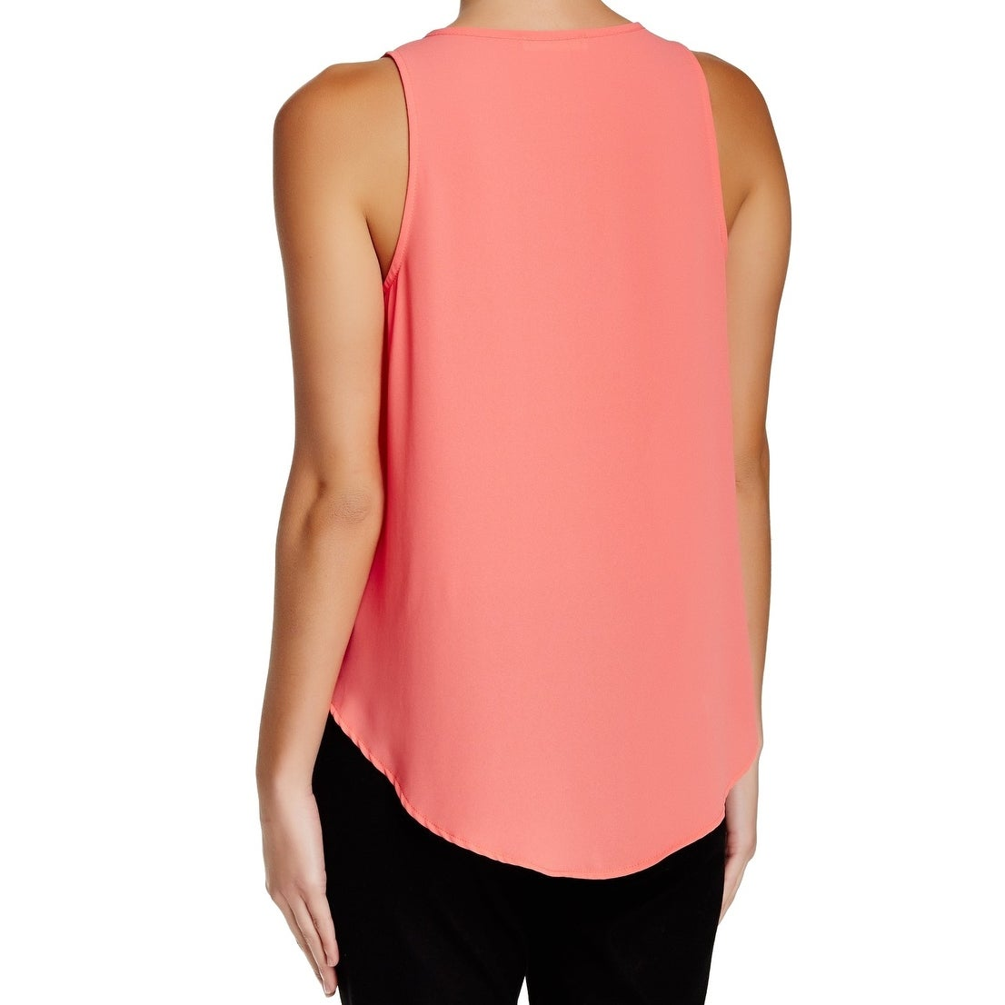 082d68842c Shop Lush NEW Coral Pink Womens Size Small S Split Neck Tank Top Blouse -  Free Shipping On Orders Over $45 - Overstock - 21111909