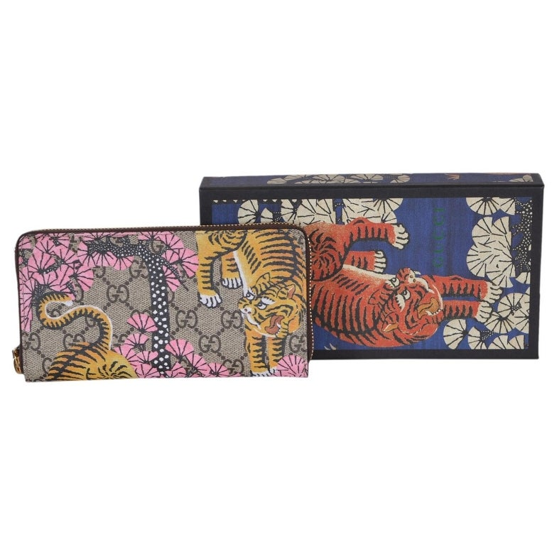 29f6b1828cc8 Shop Gucci Women's 452355 GG Supreme Bengal Tiger Zip Around Wallet Clutch  - 7.5 x 4 inches - Free Shipping Today - Overstock - 20954293
