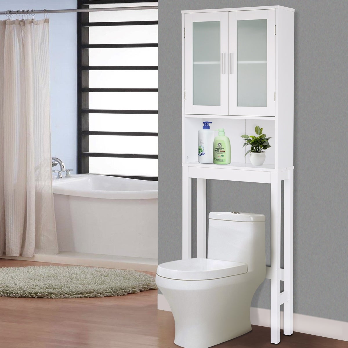 Shop Costway Wooden Over The Toilet Storage Cabinet Spacesaver ...