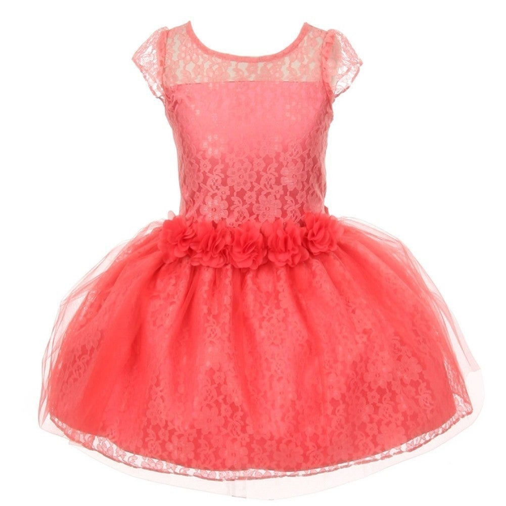 Big Girls Coral Five Roses Trim Lace Charmeuse Satin Flower Girl