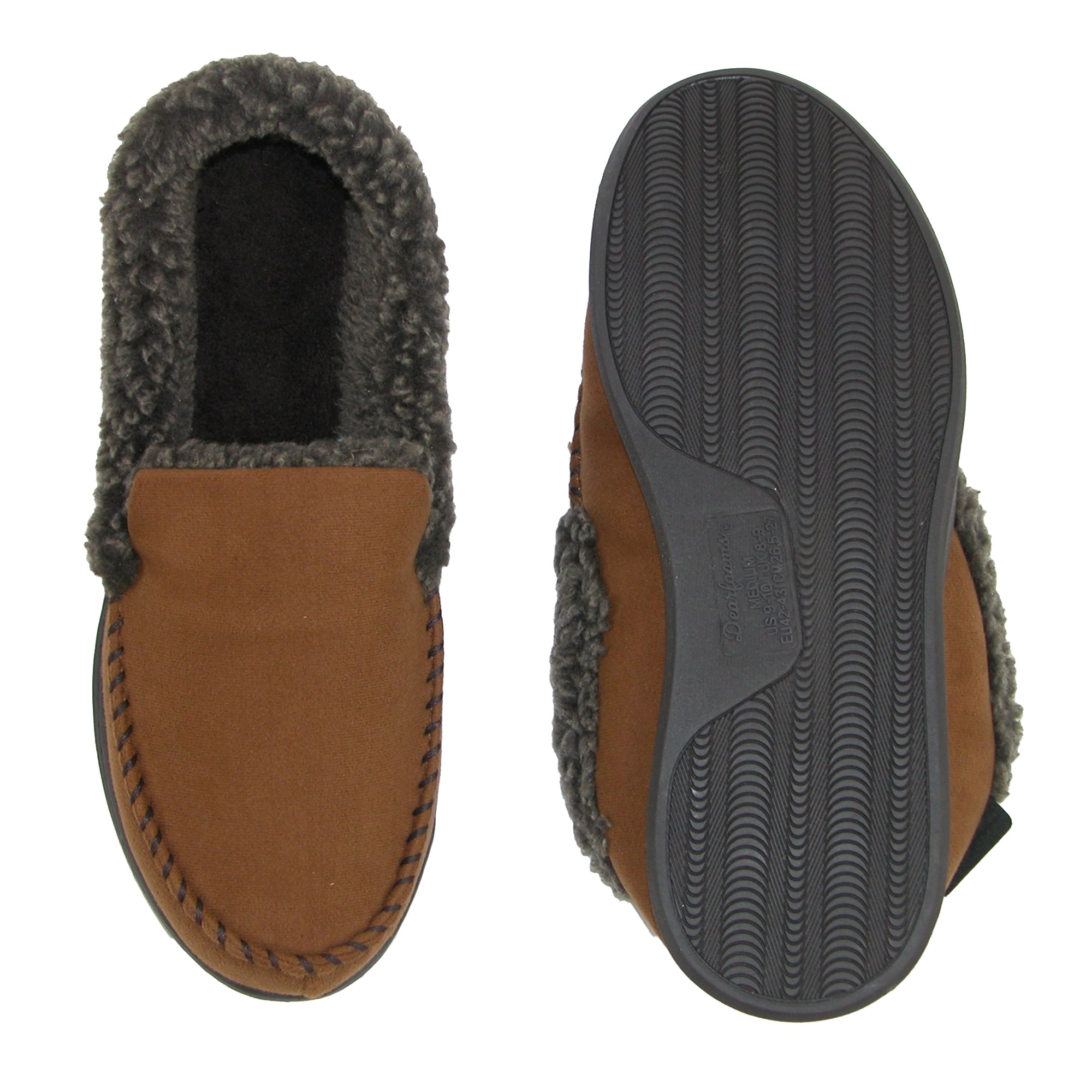 c1a73c475efb7 Shop Dearfoams Men's Wide Width Suede Moccasin with Whipstitch Detail -  Free Shipping On Orders Over $45 - Overstock - 19268245