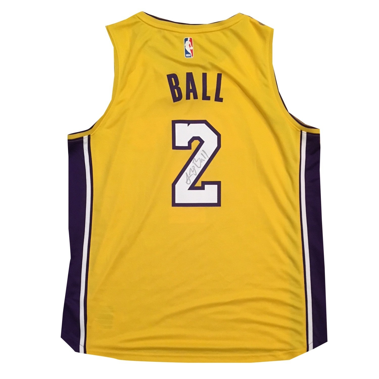 049a604f7 Lonzo Ball Autographed Los Angeles Lakers Signed Basketball Jersey Beckett  BAS COA 4