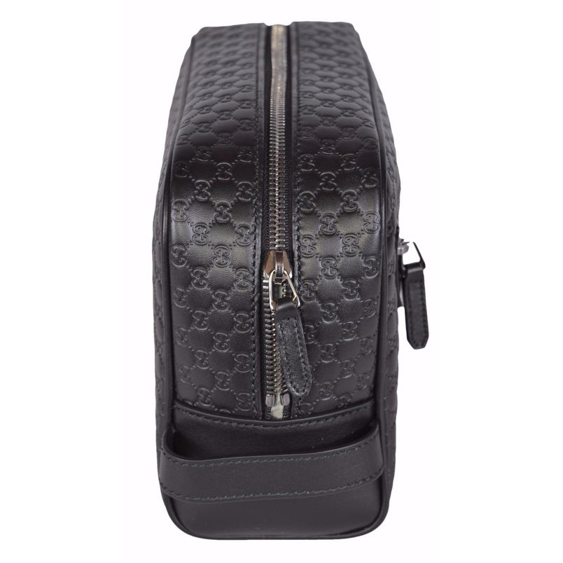 169c08661b1272 Shop Gucci Men s 419775 Black Leather Micro GG Guccissima Large Toiletry  Dopp Bag - Free Shipping Today - Overstock - 14085700