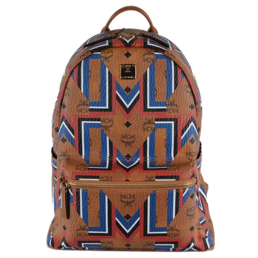 7a1c156a35e2e Shop MCM Cognac Brown Chevron Print Coated Canvas Visetos Stark Backpack -  Cream/Multi/Beige/Brown - Free Shipping Today - Overstock - 27978296
