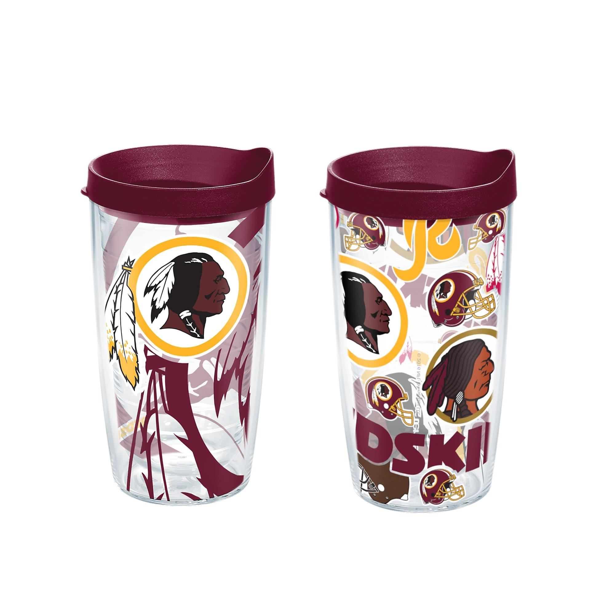 32601e42 NFL Washington Redskins 16 oz All Over and Genuine Tumbler Set with lids