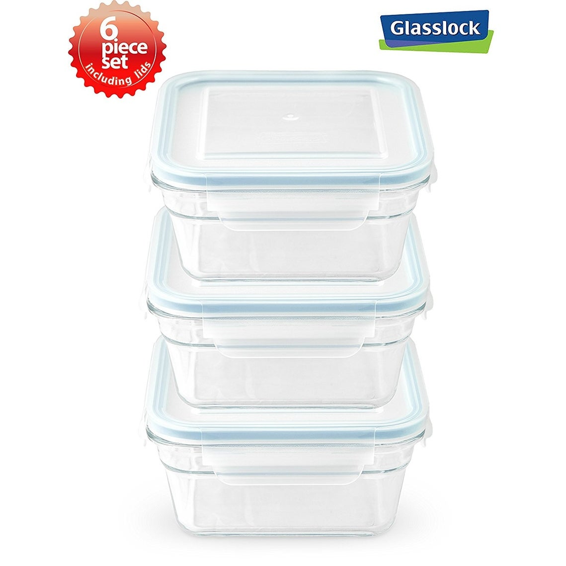Incroyable Glasslock Airtight Square Food Container 6 Piece Set (3.3cups/781ml)