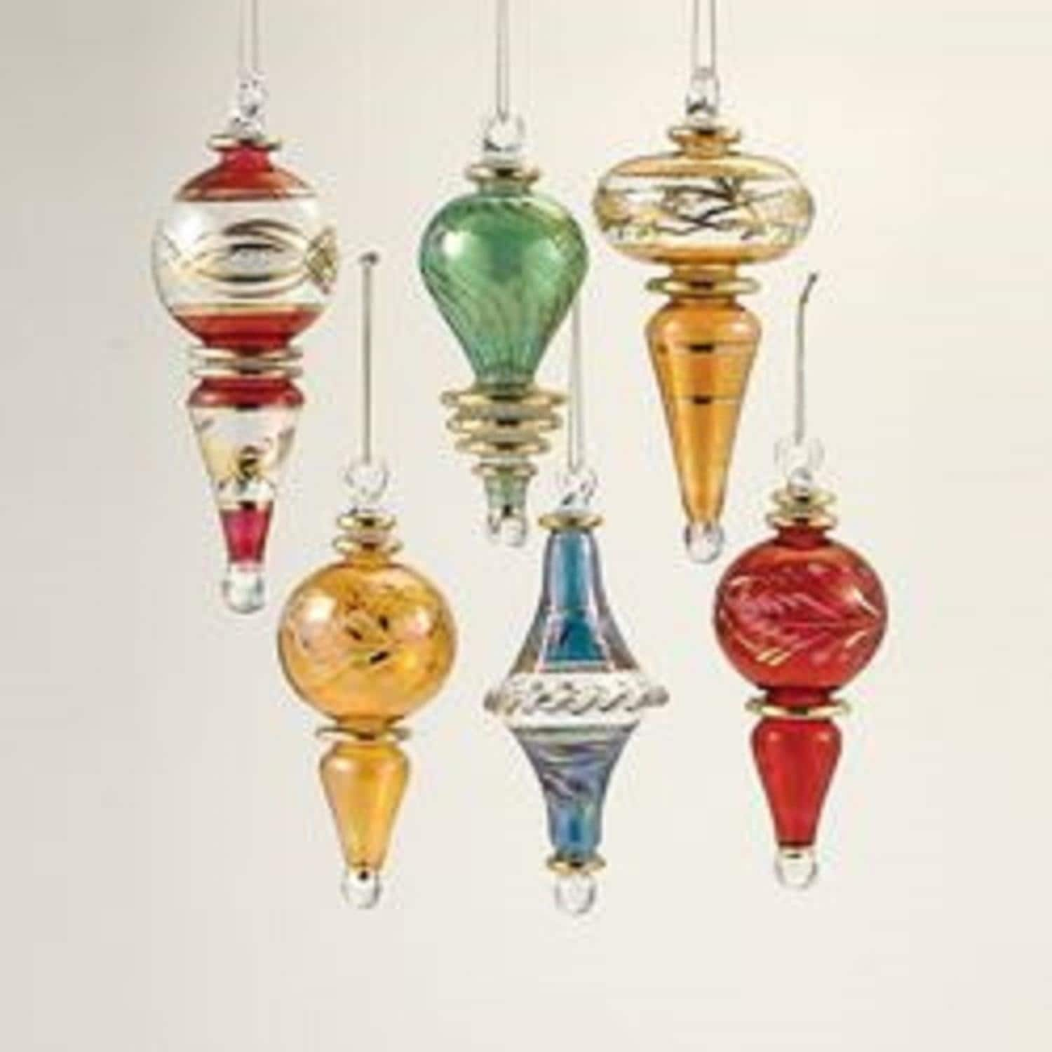 Set Of 6 Vibrantly Colored Decorative Christmas Glass Drop Ornaments