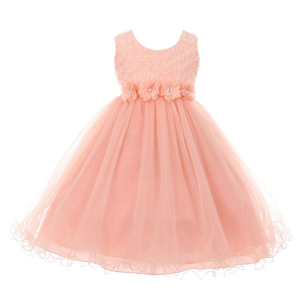 Shop Little Girls Blush Pink 3d Flower Top Wired Tulle Skirt Flower