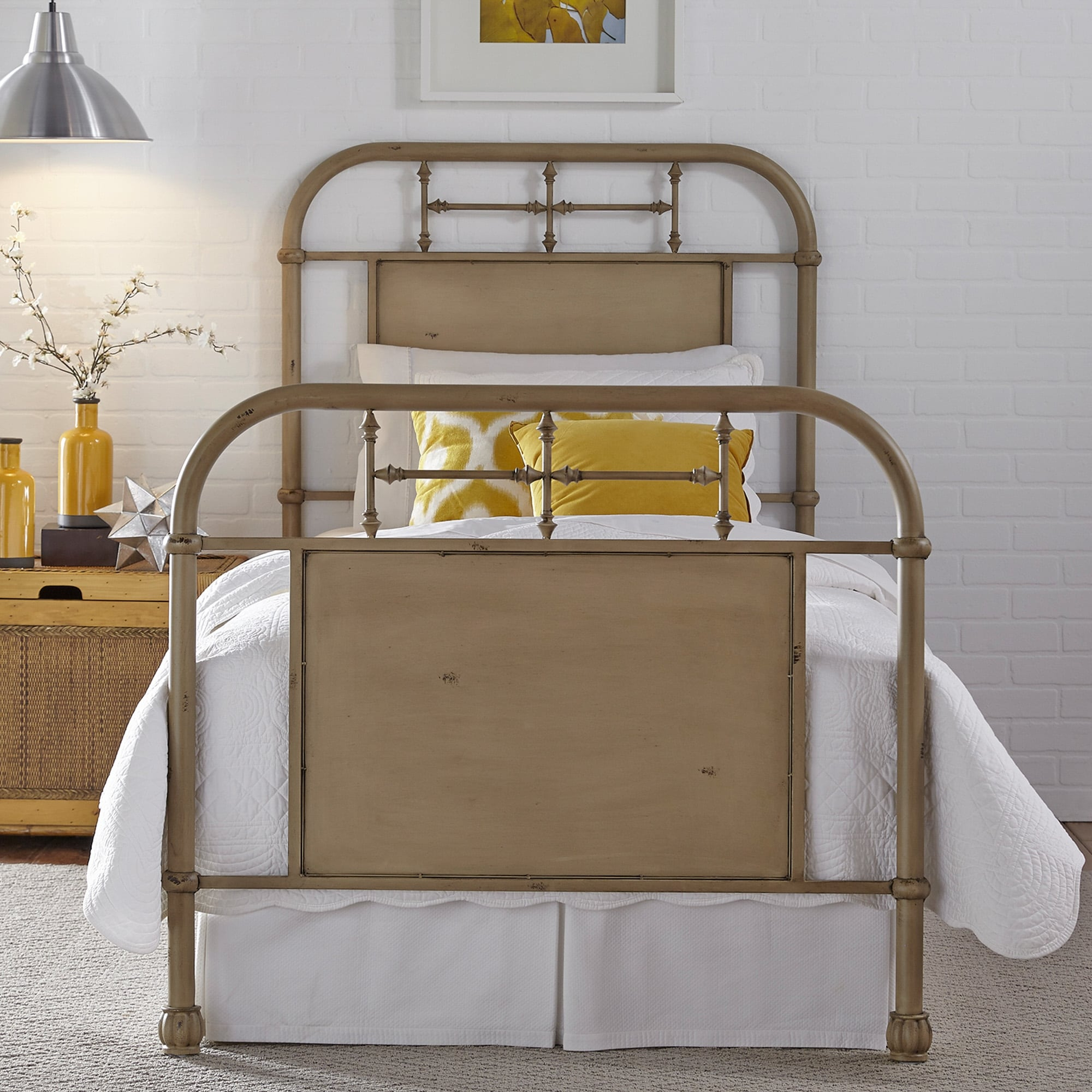 Carbon Loft Cauthen Youth Distressed Metal Vintage Cream Twin Metal Bed On Sale Overstock 22159082